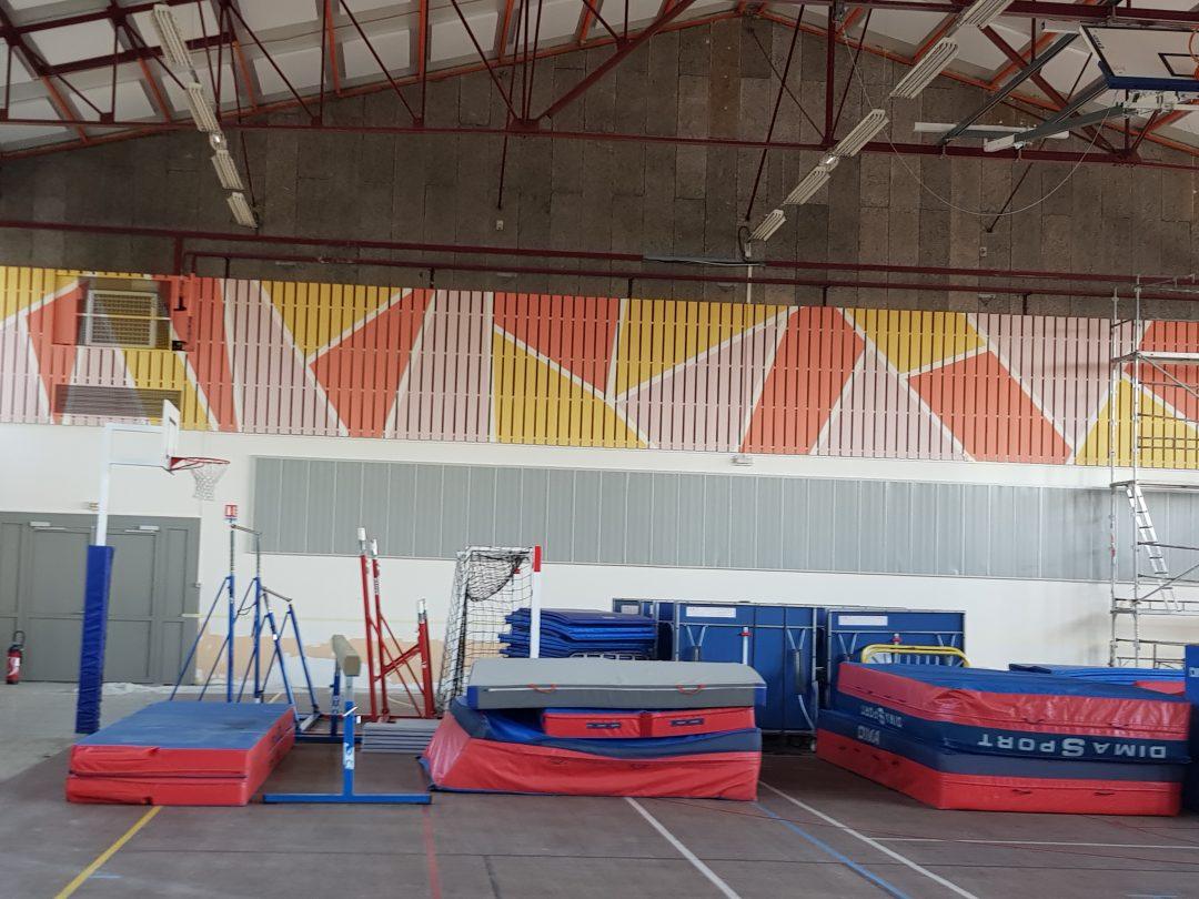 Rénovation peinture d'un gymnase et réalisation d'une fresque : peinture acrylique mate